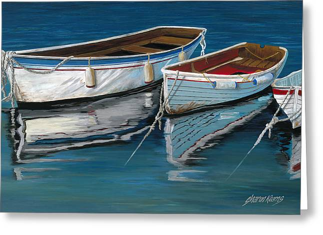 Fishing Boat Reflection Greeting Cards - Anchored Reflections II Greeting Card by Sharon Kearns