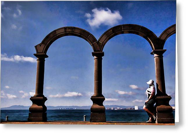 Malecon Greeting Cards - Ancient Arches Greeting Card by Monte Arnold