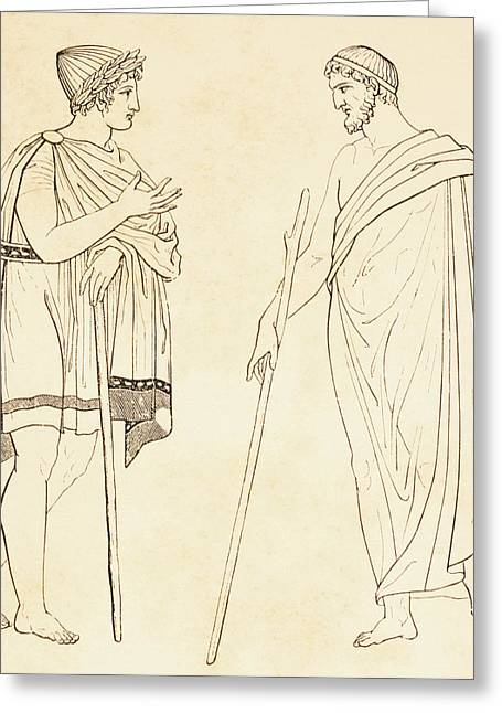 Talking Drawings Greeting Cards - Ancient Athenians Exchanging Greeting Card by Vintage Design Pics