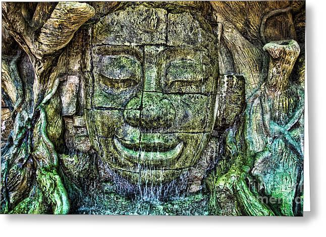 Fulfilled Greeting Cards - Ancient Buddha Greeting Card by Ray Laskowitz - Printscapes