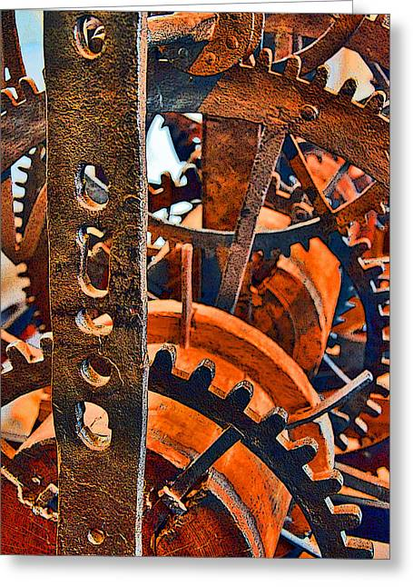 Mechanism Greeting Cards - Ancient Clock Mechanism. Greeting Card by Andy Za
