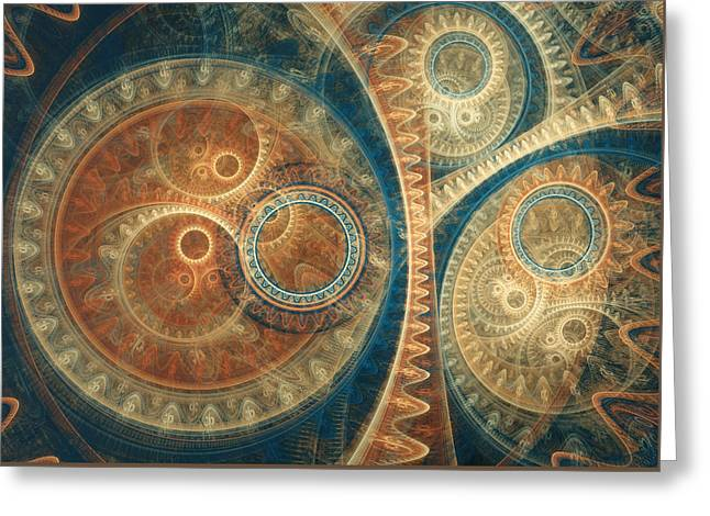 Ancient Clockwork Greeting Card by Martin Capek
