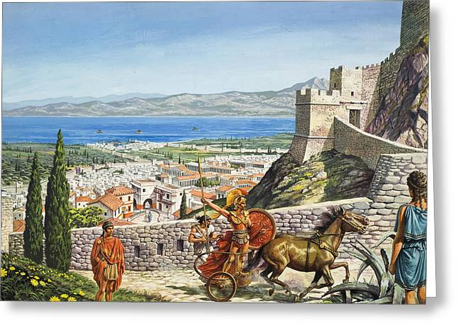 Fortification Greeting Cards - Ancient Corinth Greeting Card by Roger Payne