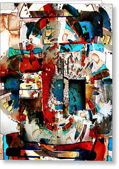 Contemporary Collage Greeting Cards - Ancient Corridors Greeting Card by Mindy Newman