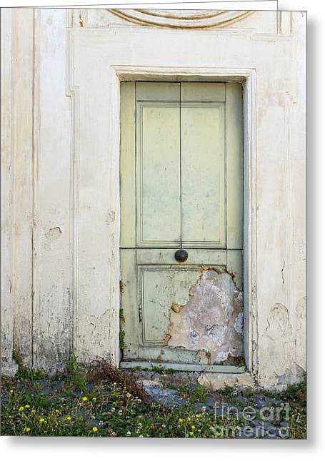 Stucco Greeting Cards - Ancient Door Rome Italy Greeting Card by Edward Fielding