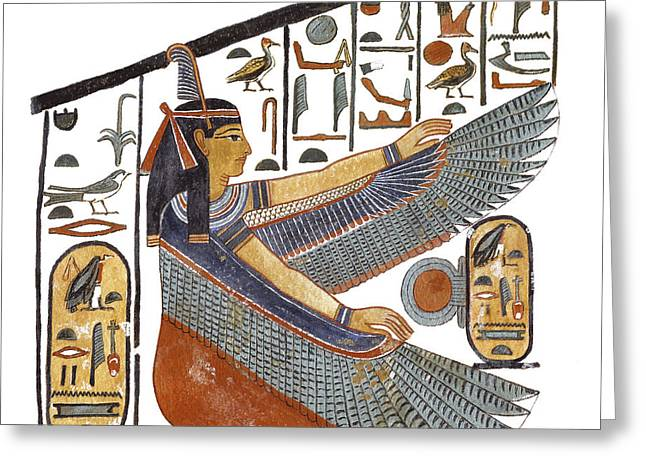 Ancient Egyptian Goddess Maat Greeting Card by Ben  Morales-Correa