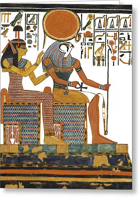 Horus Greeting Cards - Ancient Egyptian Gods Hathor and Re Greeting Card by Ben  Morales-Correa