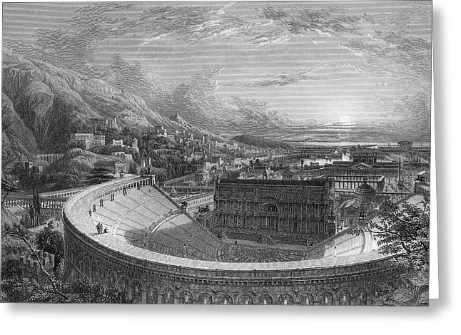 Restoration Drawings Greeting Cards - Ancient Ephesus From Above The Theatre Greeting Card by Ken Welsh