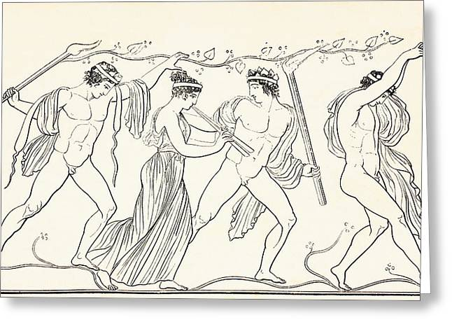 Greek Friezes Greeting Cards - Ancient Grecian Revellers. From El Greeting Card by Ken Welsh