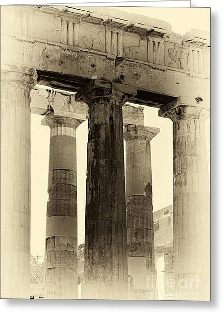 Greek Ruins Greeting Cards - Ancient Greek Columns Greeting Card by John Rizzuto