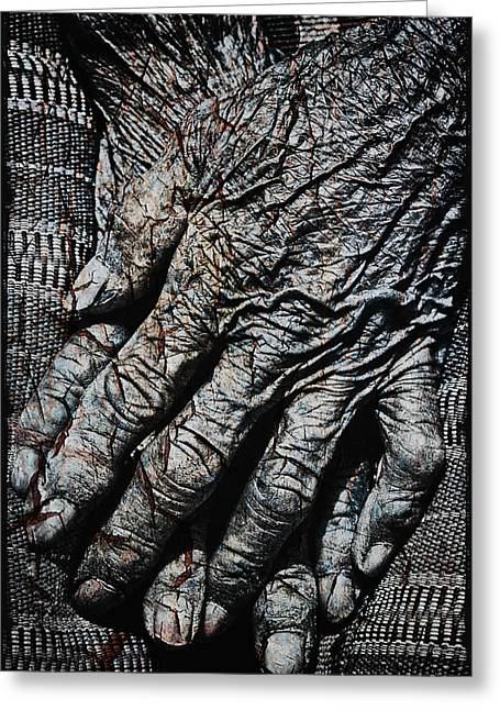 Information Age Photographs Greeting Cards - Ancient Hands Greeting Card by Skip Nall