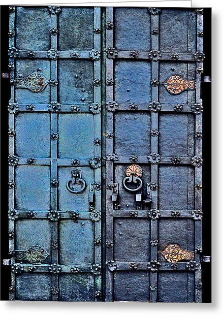 Mikhailovich Greeting Cards - Ancient iron gate. Greeting Card by Andy Za