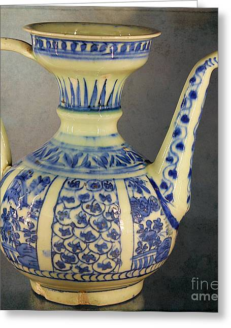 Water Jug Greeting Cards - Ancient Islamic Water Jug Greeting Card by Nina Silver