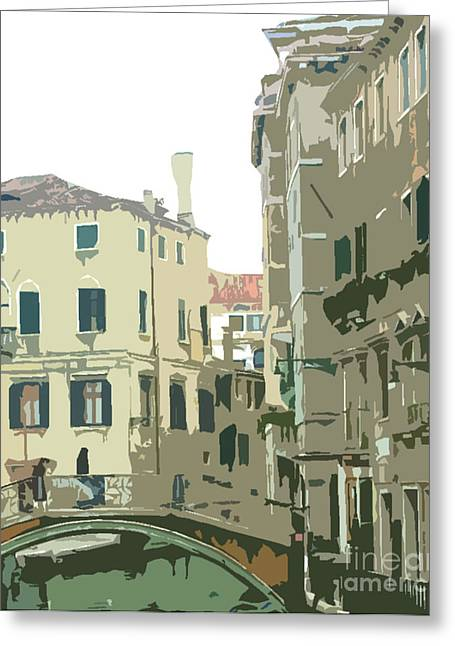 Ancient Italian Canal In Venice Greeting Card by Mindy Newman