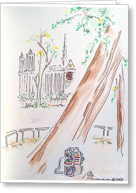 Hike Drawings Greeting Cards - Ancient Leaning Tree Greeting Card by Barbara Chase