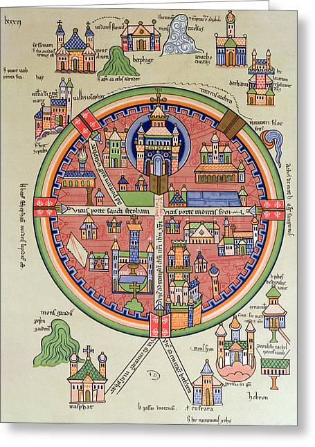 Medieval Temple Drawings Greeting Cards - Ancient Map of Jerusalem and Palestine Greeting Card by French School