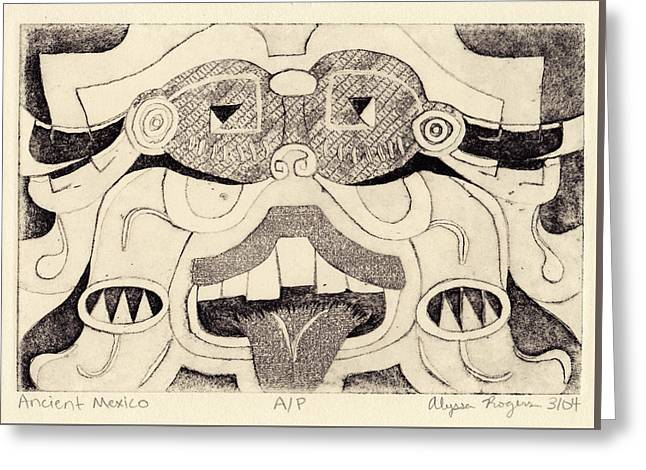 Printmaking Reliefs Greeting Cards - Ancient Mexico Greeting Card by Alyssa Rogers