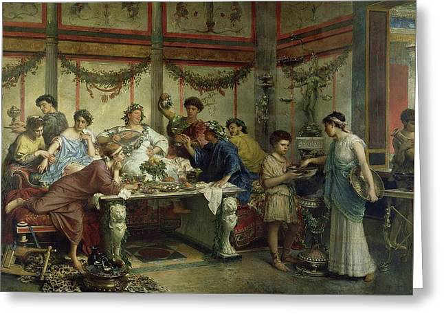 Ancient Roman Feast Greeting Card by MotionAge Designs