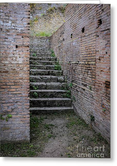 Staircase Greeting Cards - Ancient stairs Rome Italy Greeting Card by Edward Fielding