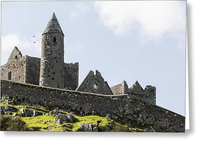 Remains Of Images Greeting Cards - Ancient Stone Ruin With Stone Wall Greeting Card by Michael Interisano