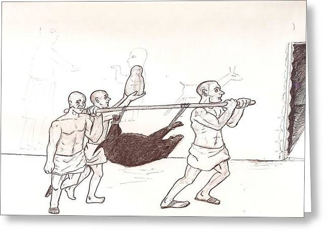 Disability Drawings Greeting Cards - Ancient Sumer sacrifice Greeting Card by Sohel A Bahjat