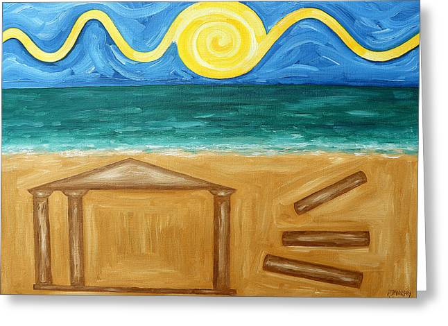Abstract Beach Landscape Paintings Greeting Cards - Ancient Temple Greeting Card by Patrick J Murphy