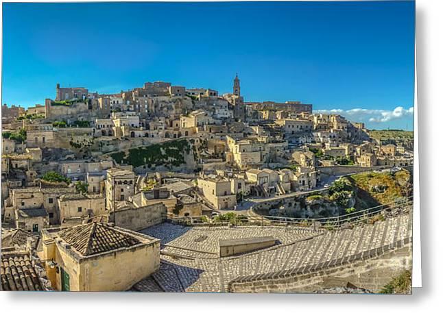 Italian Sunset Greeting Cards - Ancient town of Matera, Basilicata, Italy Greeting Card by JR Photography