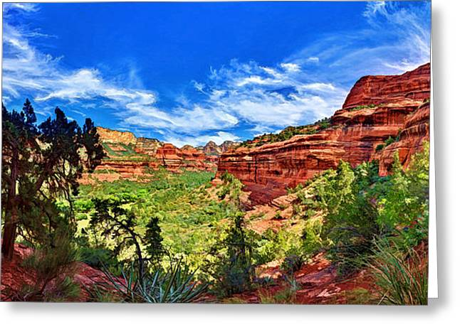 Colorful Cloud Formations Digital Greeting Cards - Ancient Vision - Boynton Canyon Greeting Card by Bill Caldwell -        ABeautifulSky Photography