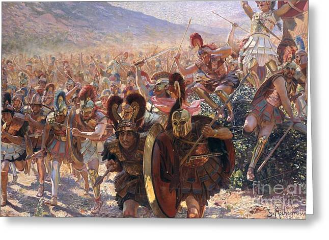 Plumed Greeting Cards - Ancient Warriors Greeting Card by Georges Marie Rochegrosse