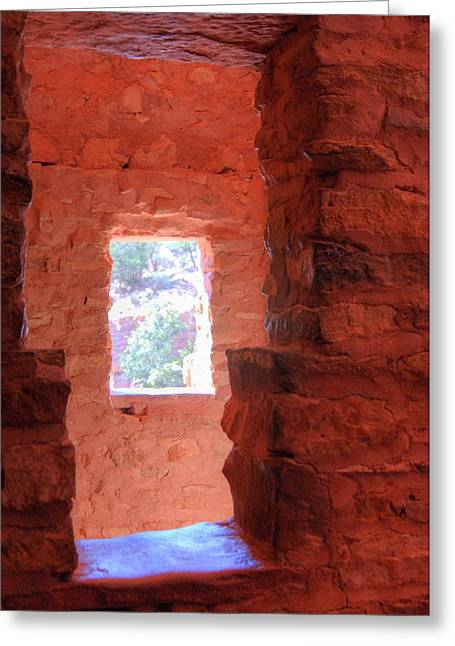 Anasazi Greeting Cards - Ancient Windows Greeting Card by Merja Waters