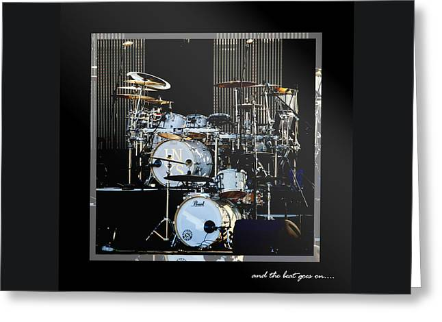 Drum Kit Greeting Cards - And The Beat Goes On.... Greeting Card by Holly Kempe