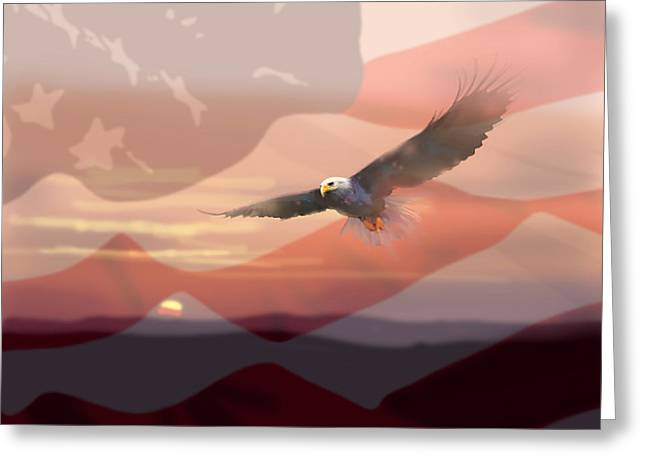 Eagles Greeting Cards - And the Eagle Flies Greeting Card by Paul Sachtleben