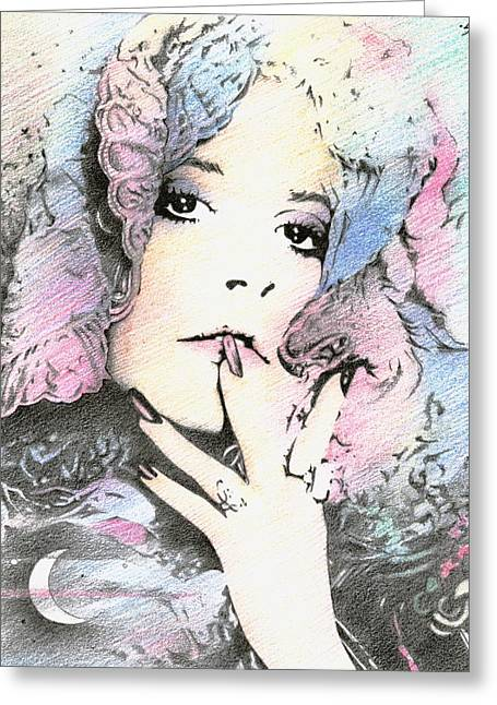 Stevie Nicks Greeting Cards - And the Ladys Feeling just like the Moon... Greeting Card by Johanna Pieterman