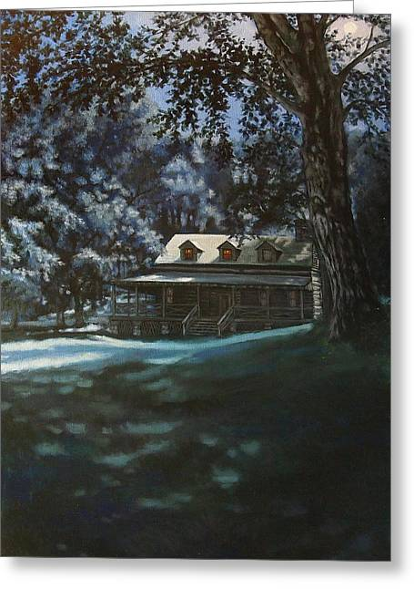Recently Sold -  - Log Cabins Greeting Cards - And the Lights Glowing Softly at Night Guide us Home Greeting Card by Suzanne Shelden