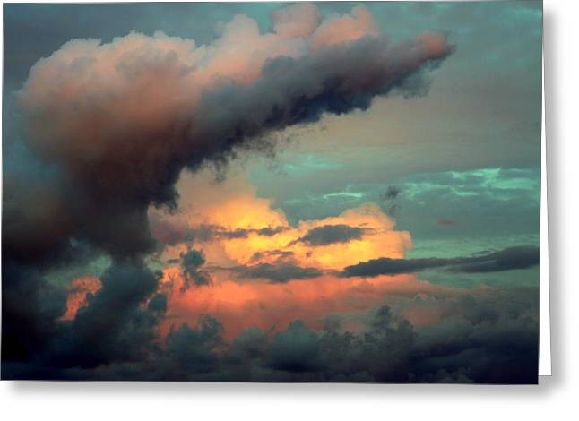 Light Aqua Greeting Cards - AND the THUNDER ROLLS Greeting Card by Karen Wiles