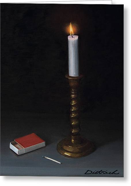Candle Lit Greeting Cards - And There was Light Greeting Card by David John Dietrich