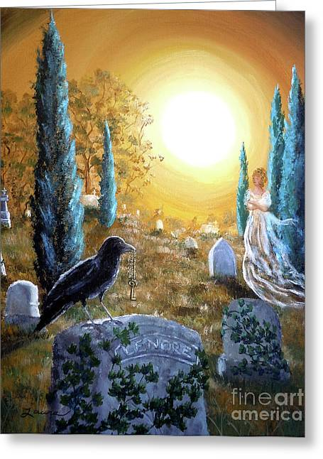 Edgar Allan Poe Greeting Cards - And This Mystery Explore Greeting Card by Laura Iverson