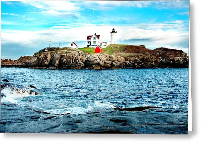 New England Lighthouse Greeting Cards - And Yet Another Greeting Card by Greg Fortier
