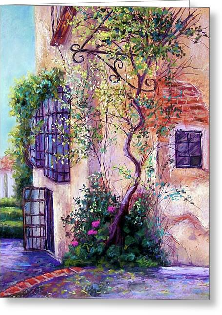 Adobe Pastels Greeting Cards - Andalucian Garden Greeting Card by Candy Mayer