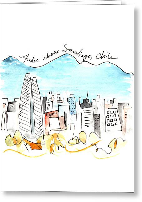 Andes Above Santiago Greeting Card by Anna Elkins