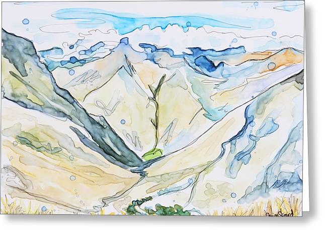 Pen And Paper Greeting Cards - Andes Greeting Card by Shaina Stinard