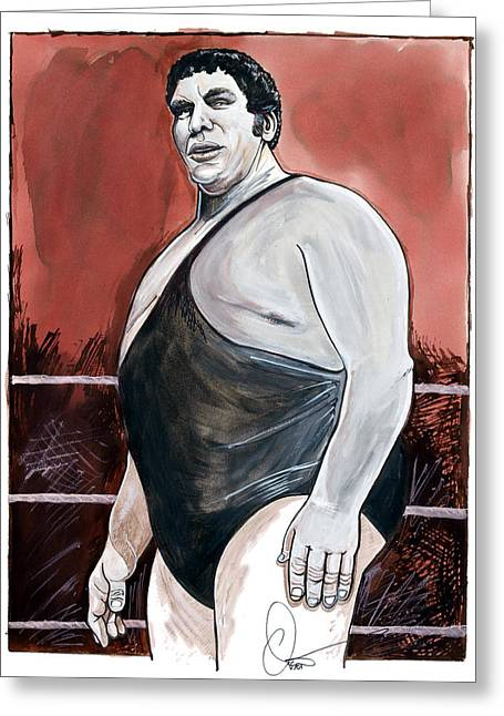 Hall Of Fame Drawings Greeting Cards - Andre The Giant Greeting Card by Dave Olsen