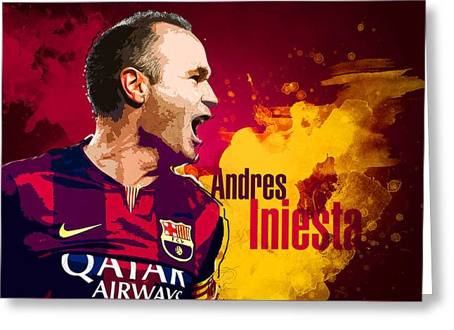 Lionel Andres Messi Greeting Cards - Andres iniesta Greeting Card by Semih Yurdabak