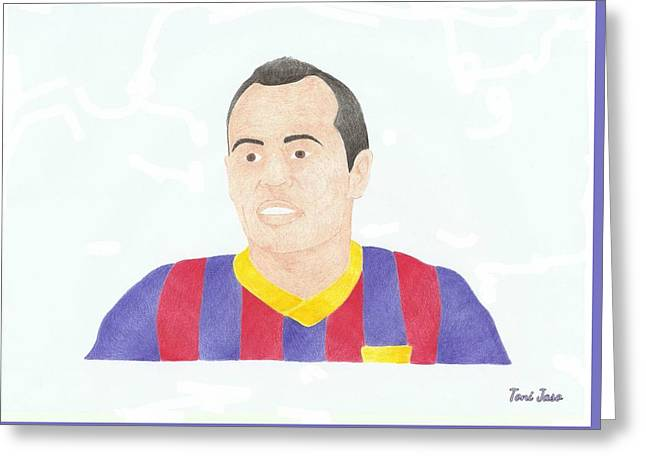 Player Drawings Greeting Cards - Andres Iniesta Greeting Card by Toni Jaso
