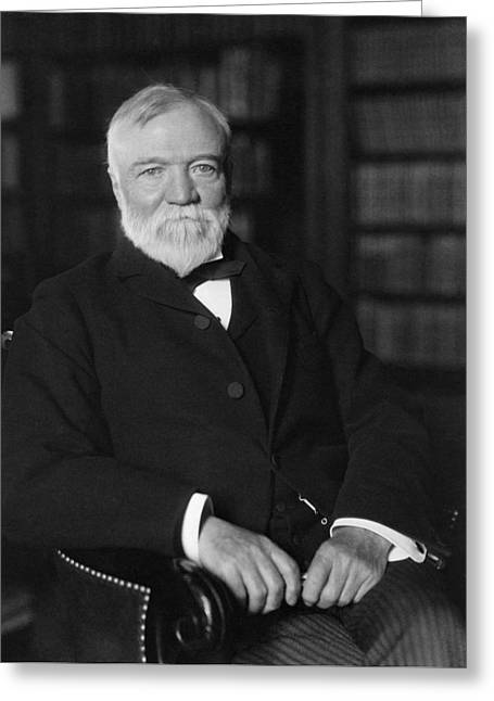Andrew Carnegie Seated In A Library Greeting Card by War Is Hell Store