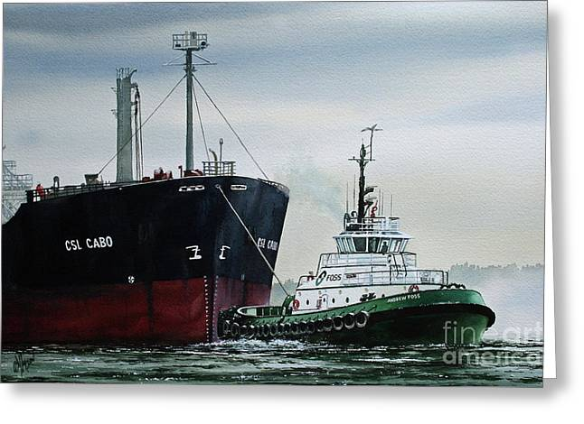 Assist Greeting Cards - ANDREW FOSS Ship Assist Greeting Card by James Williamson