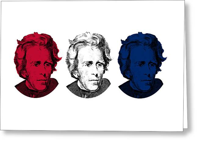 U S Presidents Greeting Cards - Andrew Jackson Red White and Blue Greeting Card by War Is Hell Store