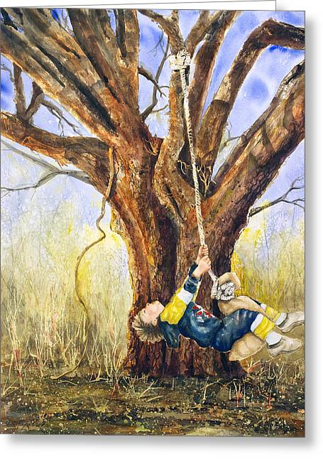 Puppies Mixed Media Greeting Cards - Andrew on Sack Swing Greeting Card by Shirley Sykes Bracken