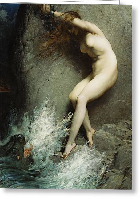 Dragon Lady Greeting Cards - Andromeda Greeting Card by Gustave Dore