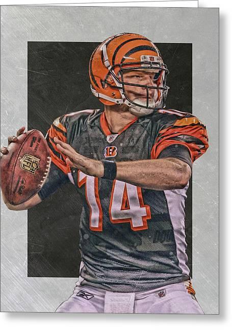 Andy Dalton Cincinnati Bengals Art Greeting Card by Joe Hamilton